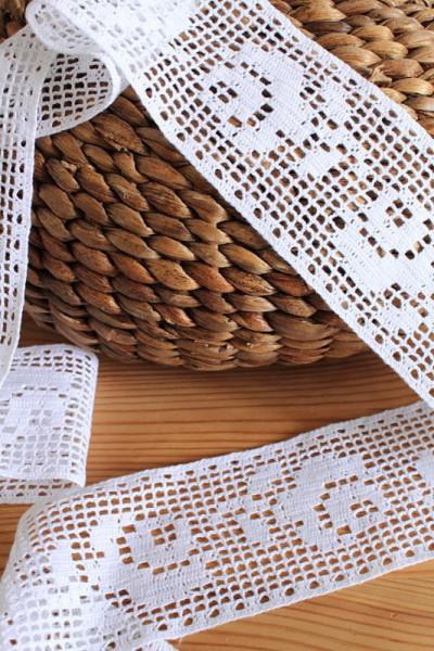 2m Baumwollspitze Rosen Einsatz reinweiß 7,5cm