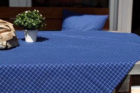 Blaue Tischdecke oder Kissenbezug grün-weiß kariert