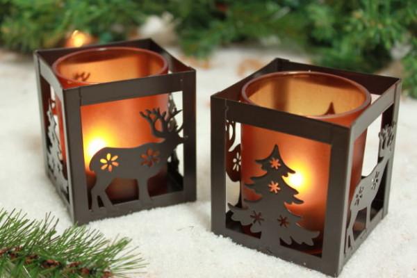 2er Set Teelichtwürfel Weihnacht