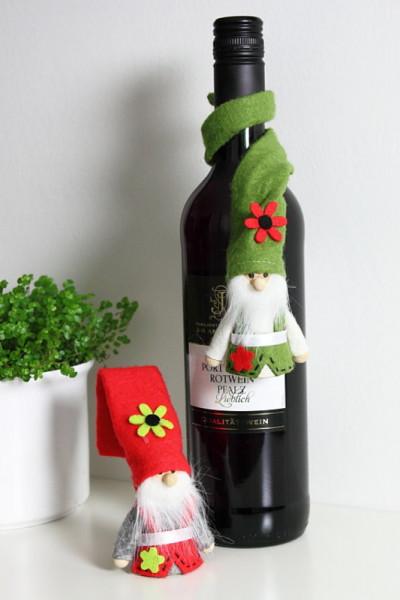 2er Set Gartenzwerg mit biegsamer Zipfelmütze in rot oder grün