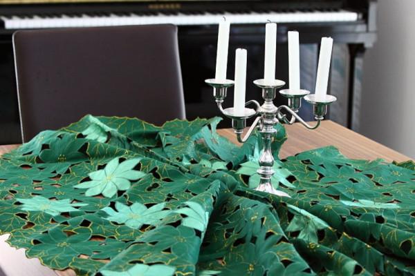 runde Weihnachtstischdecke grüne Christsterne