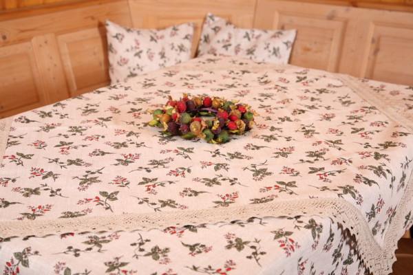 Tischdecken und Kissen Hagebutte