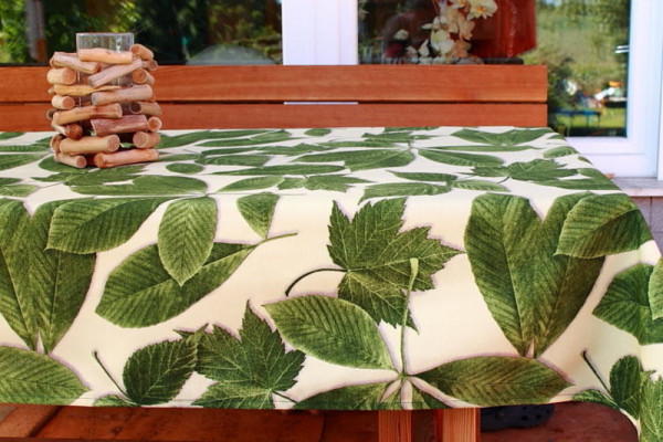 Tischdecke Kastanienblätter grün in rund und eckig