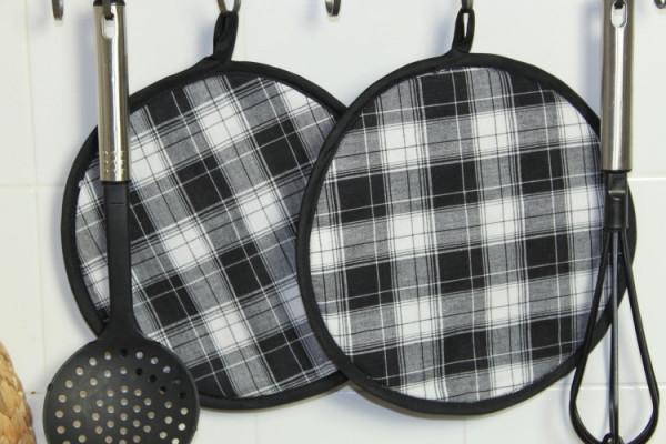 2er Set Topflappen schwarz-weiß