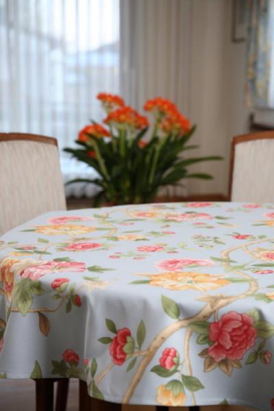 Gartentischdecke Tischdecke hellblaue Sommerblumen