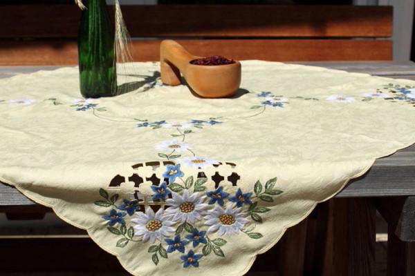 Tischdecke oder Tischläufer gelb mit Enzian und Edelweiß