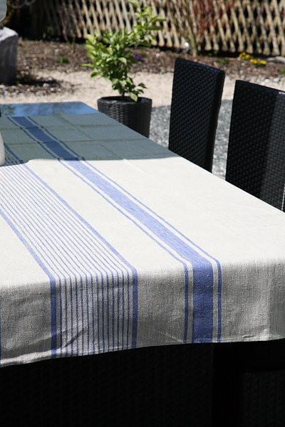 Leinentischdecke beige mit blauem Streifen