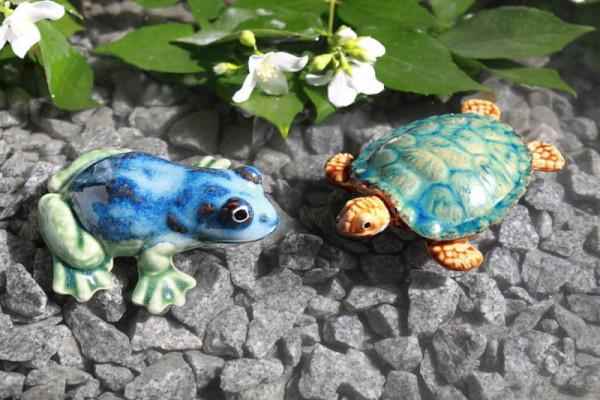 2er Set Teichdeko aus Keramik Frosch blau, Schildkröte in versch. Farben