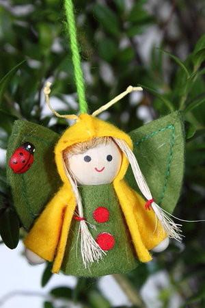 3er Set Filzfigur Schmetterlingskind in gelb z. Stellen oder Hängen