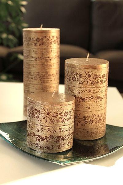 3er Set Kerzen gold m. Ornamenten