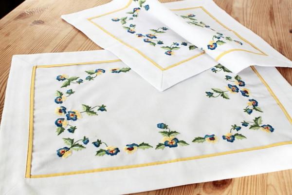 2er Set Deckchen Stiefmütterchen