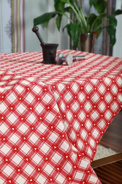 Tischdecke herziger Landhausstil in rot und grün