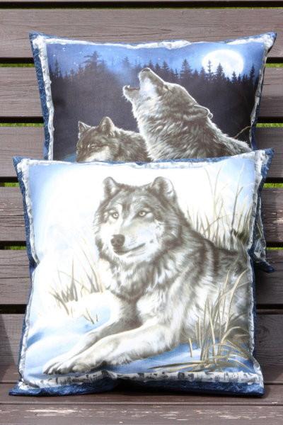 Deko Kissenbezug Wölfe - Kissen mit Tiermotiven