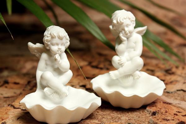 2er Set Engel auf Muschelschälchen psst