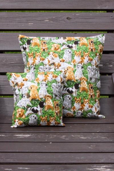 Tierkissen grün mit Hunden - Kissenbezug mit Tiermotiven