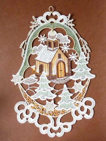 Fensterbild Kirche Ornament Weihnachtsdekoration