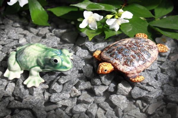 2er Set Teichdeko aus Keramik Frosch grün, Schildkröte in versch. Farben